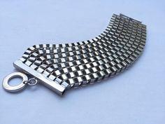 Silver metal chain chunky bracelet statement by Liliesandlollipops