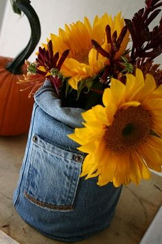 Denim vase - How cute for a fall arrangement!