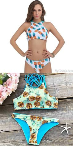 Sexy Tank Swimsuit Suit Bathing Swimwear New Pineapple Printing Bikini Set for big sale! #suit #bathing #sexy #swimwear #new #pineapple #bikini #swimsuit