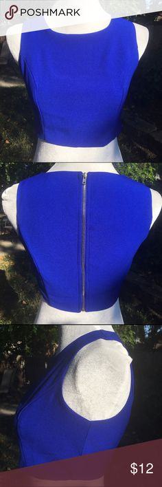 """Lulu's royal blue crop top Beautiful royal blue """"Splendidly Spry"""" crop top by Lulu's has princess seams for flattering for at bust and an exposed zipper in back that opens completely so you can slip it on like a vest then zip it up for great fit without having to pull it over your head. Quality construction and style that Lulu's is known for! Easy care 100% polyester.  Goes really nicely with the tropical palazzo pants sold separately in my Poshmark boutique. Lulu's Tops Crop Tops"""