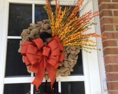 Thanksgiving Turkey Welcome Wreath Sage Green by CarolinaMoonDecor