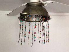 Bohemian Beaded Strainer Light  Green Beaded by BohoGrooveDesigns, $75.00