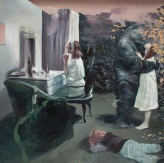 "the Dressing Room (2014) 67"" x 67"" / 170 x 170cm, eggoiltempera on canvas. Lars Elling."