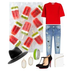 """Watermelon pops"" by lolaraeadx ❤ liked on Polyvore featuring Carven, Christian Louboutin, Kenny & Co., Kendra Scott, rag & bone and Anya Hindmarch"