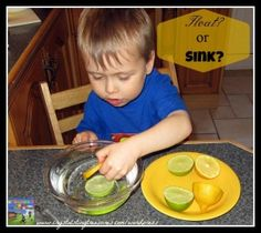 Preschool science fun with lemons and limes.  Will they sink or float? Crystals Tiny Treasures
