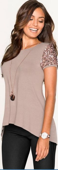 Sequins Short Sleeve Patchwork Scoop Irregular T-shirt