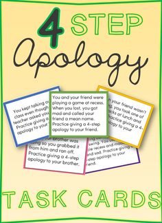 Free 4 Step Apology Task cards for elementary students. Great for helping students learn to make effective apologies.