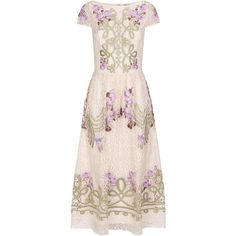 Temperley London Antila Dress, Cream/lilac (4 085 BGN) ❤ liked on Polyvore featuring dresses, pink evening dresses, cocktail dresses, evening cocktail dresses, pink dress and satin dress