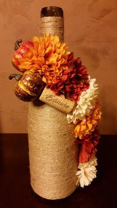 Fall Twine Wrapped Wine Bottle by PopYourCorkDesigns on Etsy