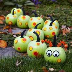 Use paint and felt to turn a group of pumpkins into a cute caterpillar! Get more ideas for painted pumpkins: http://www.bhg.com/halloween/pumpkin-decorating/painted-pumpkin-ideas/?socsrc=bhgpin092012caterpillarpumpkins