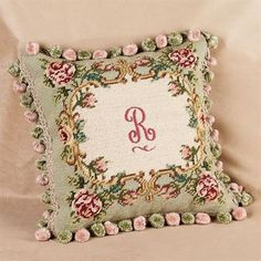 Shabby Chic is a great look to add an old world feel to any room. You can easily add some Shabby Chic Pillows, like these from Petunia Rose. Needlepoint Pillows, Wool Pillows, Cushions, Throw Pillows, Cross Stitch Flowers, Cross Stitch Patterns, Victorian Home Decor, Monogram Pillows, Shabby Chic Crafts