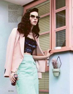 The new face of Prada, Meghan Collison, as featured in Vogue Russia. Stylist Katie Shillingford beautifully styled Meghan in elegant ladylike style shot by Ben Toms. I love the vintage glasses and wardrobe, as well as the play on color. Cute Fashion, Retro Fashion, Fashion Models, Spring Fashion, High Fashion, Vintage Fashion, Pastel Fashion, Retro Chic, Retro Mode
