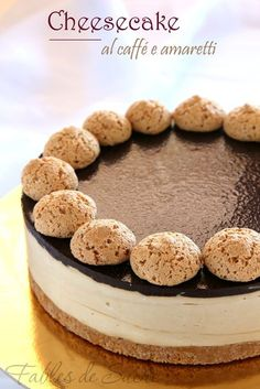 Cheesecake with coffee and macaroons