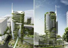 t.r. hamzah & yeang, sustainable skyscraper, editt tower, singapore sustainable architecture, living walls, solar power, biogas power, green building