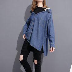 2017 Spring Summer Fashion New Blue Black Cowboy Shirt Leisure Long Sleeve Denim Patchwork Blouse Woman T33801