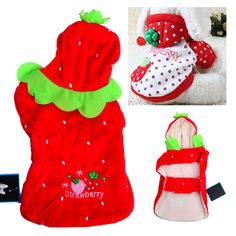 Christmas Strawberry Style Winter Cloth with Velcro for Dog Pet - Red