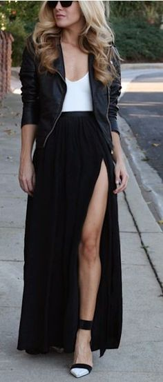 Street style | Slit maxi skirt and leather jacket