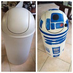 R2D2 trash can DIY for Star Wars nursery.