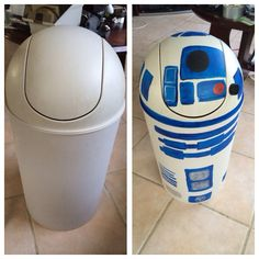 R2D2 trash can DIY for Star Wars nursery.