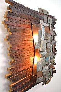 STUDIO Collection - Nelio - Wine Barrel Wall light / made from reclaimed Napa wine barrels and rings - Recycled wine barrels! Wine Barrel Wall, Wine Barrel Rings, Barrel Furniture, Diy Outdoor Furniture, Rustic Light Fixtures, Rustic Lighting, Modern Sconces, Bedside Lighting, Wood Lamps