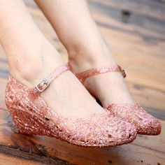 2013 female new arrival breathable hole shoes crystal jelly cutout flower wedges bird nest women's sandals $14.21