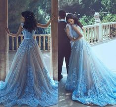 A-Line Blue Sleeveless Tulle Wedding Dress 2017 With Chapel Train