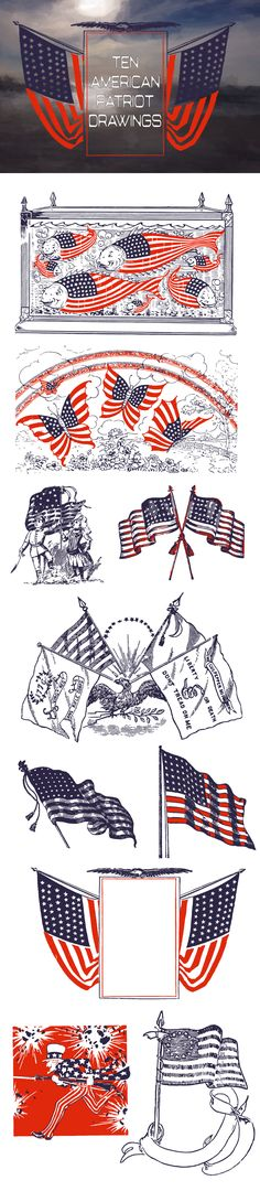 Ten Vintage American Flag Drawings by Pride Of My Life Designs on @creativemarket