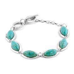 Pugster Silver Tone Bling Jewelry Oval Genuine Trendy Turquoise Bracelet - http://finejewelrygalleria.com/jewelry/bracelets/bangle/pugster-silver-tone-bling-jewelry-oval-genuine-trendy-turquoise-bracelet-com/