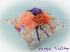 Hey, I found this really awesome Etsy listing at https://www.etsy.com/listing/178962312/orange-satin-white-lace-wedding-ring