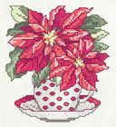 Teacup Lane: My Poinsettia Cross- Embroidery Art, Cross Stitch Embroidery, Cross Stitch Patterns, Machine Embroidery, Christmas Charts, Memory Crafts, Cross Stitch Freebies, Poinsettia Flower, Cross Stitch Flowers