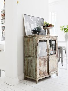 Kitchen:Wooden And Vintage Cabinet Made Of Wood Picture Frame Stool Potflower And Chase Book The Place Room With White Wall And Floor Shabby...