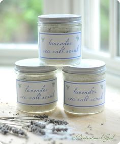 DIY Lavender Sea Salt Scrub - sea salt, grapeseed oil, lavender essential oil, dried lavender. Label download.
