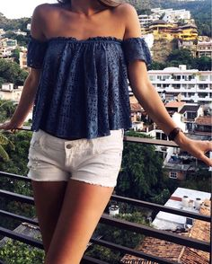 Free People Off Shoulder Top | Girl Meets Gold Vacation Style