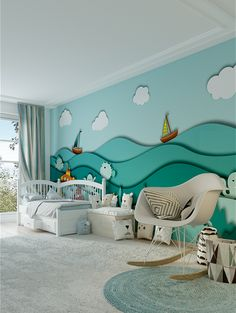 This playful Aquatico 3D wallpaper with the waves and colorful sea creatures insinuating a deep background behind them is an ideal choice for a baby's...