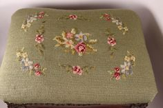 Antique Foot Stool - Very Good Condition - Needlepoint Fabric Covered - Brass Tacks - Hand Carved - Foot Rest Brass Tacks, Country Style Homes, Looks Vintage, Fabric Covered, Foot Rest, Needlepoint, Vintage Antiques, Hand Carved, Stool