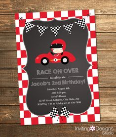 Race Car Birthday Invitation, Boy Birthday, Second Birthday, First, Birthday Party, Red, Black, White, Chalkboard, Cars, Printable File by InvitingDesignStudio on Etsy