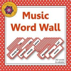 Your music students will be able to see your bulletin board or music word wall anywhere in the room!  202 words plus, an editable ppt slide is included to add a word if needed!  Easy index to help select the words/pages you would like to print!  A music have for music education classrooms!