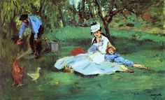 Édouard Manet (French, 1832–1883): The Monet Family in Their Garden at Argenteuil, 1874. Oil on canvas, 24 x 39-1/4 inches (61 x 99.7 cm). Metropolitan Museum of Art, New York, NY, USA.