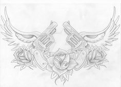 Guns And Roses Tattoo Designs Chest Tattoo Drawings, Chest Piece Tattoos, Tattoo Design Drawings, Tattoo Sketches, Tattoo Designs, Tattoo Ideas, Chest Tattoo Stencils, Skull Tattoos, Animal Tattoos