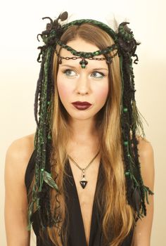 headdress, headdresses, wig, dreads, dreadfalls, tribal, tribal headdress, goth, gothic, witch, witchy, goddess, gypsy, festival wear, burlesque, faery, fairy, faerie, fantasy, burningman, queen, woodland faery, nymph, lotuscircle www.etsy.com/shop/lotuscricle