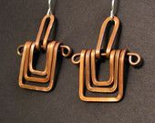 Copper Earrings . Three Square .  Handmade