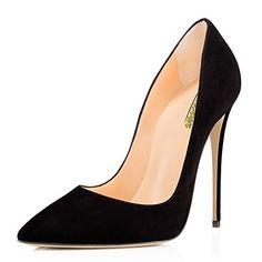 41ee740e3e98 Modemoven Women s Black Suede Pointy Toe High Heels Slip ... https