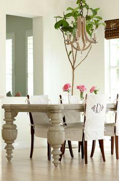 Monogrammed Chair Slipcoverslove The Table Legs Dining SlipcoversDining Room