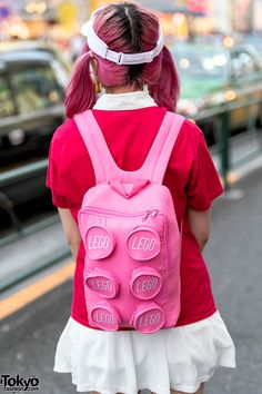 Harajuku Girl w/ Pink Hair in Kawaii Chuy's Tacos Tee, Pink Converse & Lego Backpack