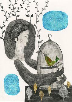 Etsy の Original Painting Small bird by TetsuhiroWakabayashi
