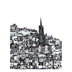 Susie Wright's beautiful Edinburgh City Digital Print. Strong graphic details with a bright pastel colours. take home a unique reminder of your holidays