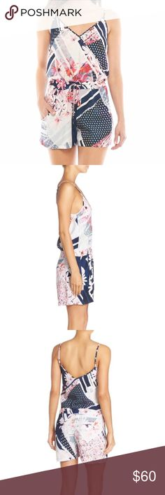 French Connection Romper size 0 Perfect condition floral romper by French Connection. Elastic waist with adjustable tie and straps. Front and back pockets. Such a cute and flattering romper for daytime or to dress up at night. French Connection Dresses