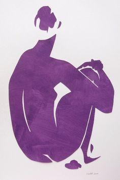 "Saatchi Art Artist Elizabeth Lever; Collage, ""Eva in Purple"" #art"