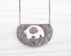 Felted elephant necklace