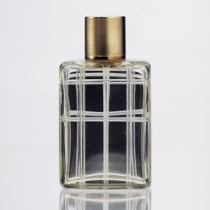 1942 Mappin & Webb crystal dressing table scent perfume bottle, silver gilt top